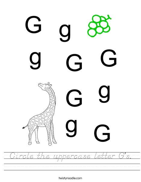 Circle the uppercase letter G's. Worksheet