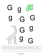 Circle the uppercase letter G's Handwriting Sheet