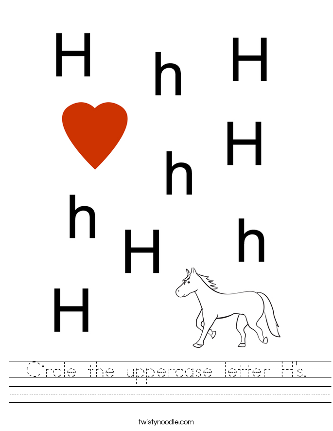 Circle the uppercase letter H's. Worksheet
