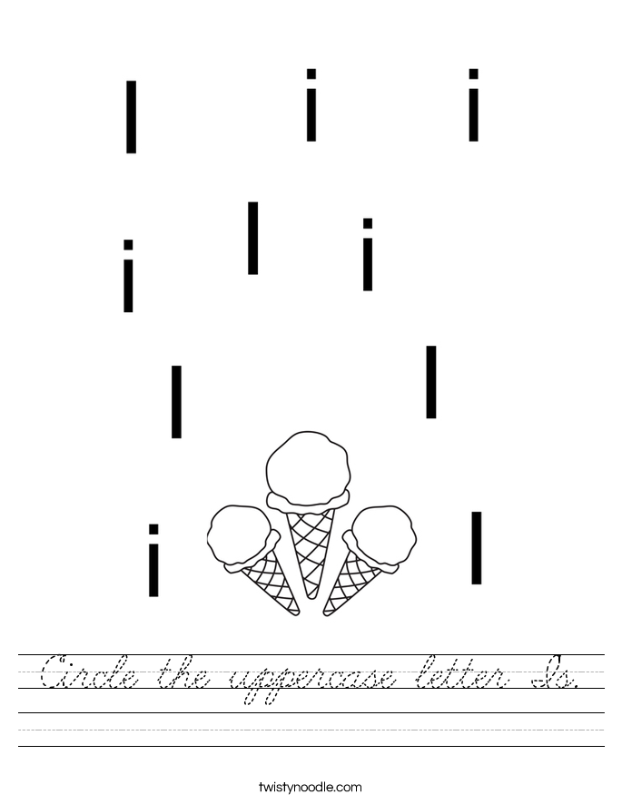 Circle the uppercase letter I's. Worksheet