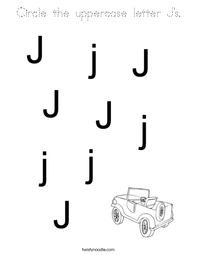 Circle the uppercase letter J's. Coloring Page