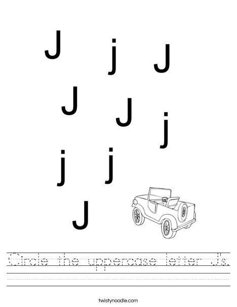 Circle the uppercase letter J's. Worksheet