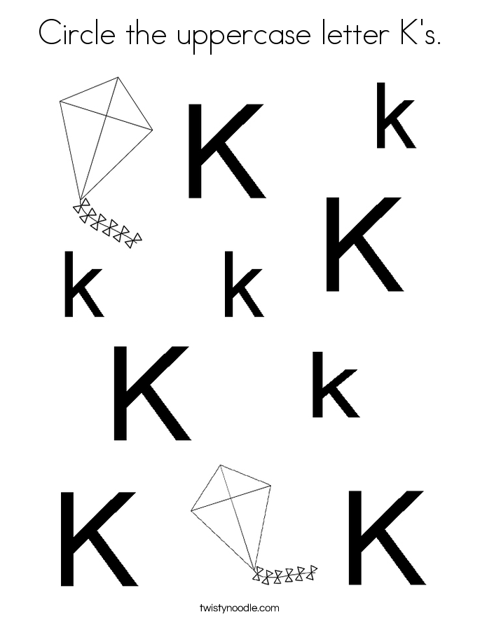 Circle the uppercase letter K's. Coloring Page