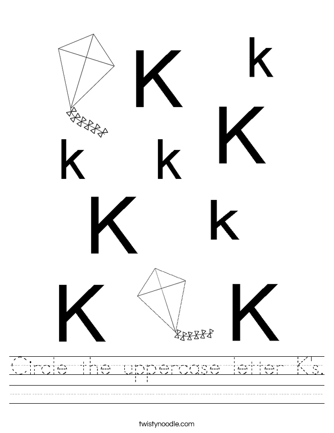 Circle the uppercase letter K's. Worksheet
