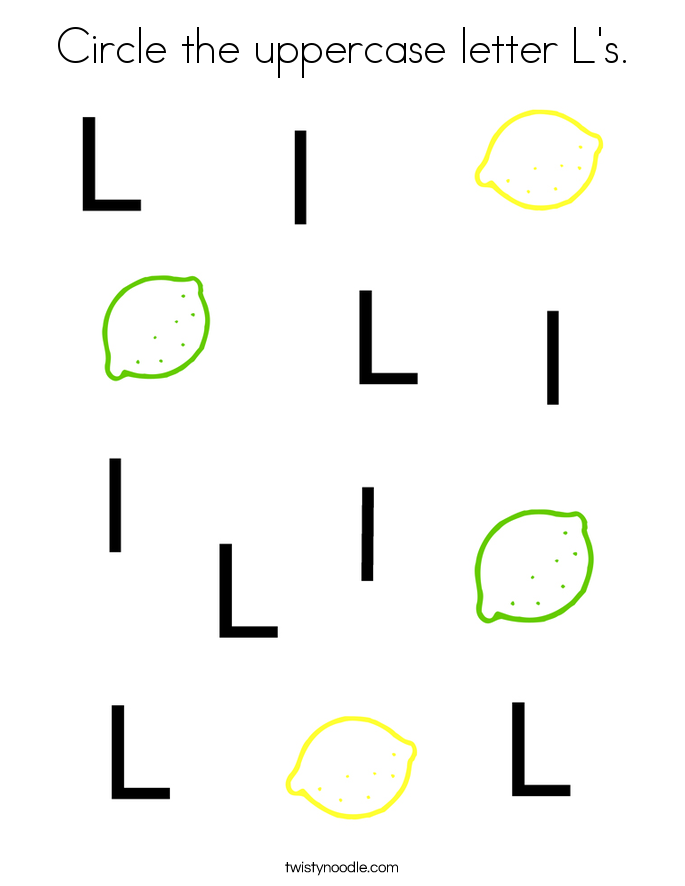 Circle the uppercase letter L's. Coloring Page