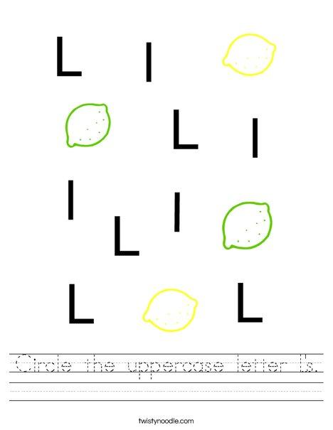 Circle the uppercase letter L's. Worksheet