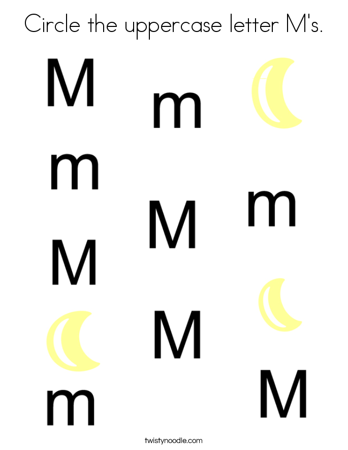 Circle the uppercase letter M's. Coloring Page