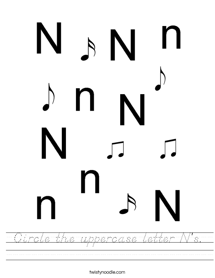 Circle the uppercase letter N's. Worksheet