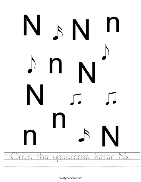 Circle the uppercase letter N's. Worksheet