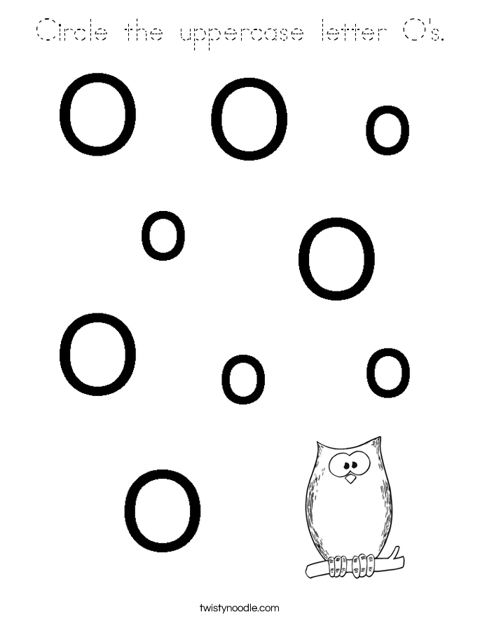 Circle the uppercase letter O's. Coloring Page