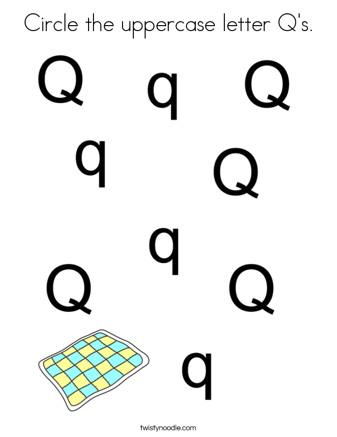 Circle the uppercase letter Q's. Coloring Page