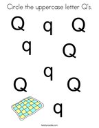 Circle the uppercase letter Q's Coloring Page