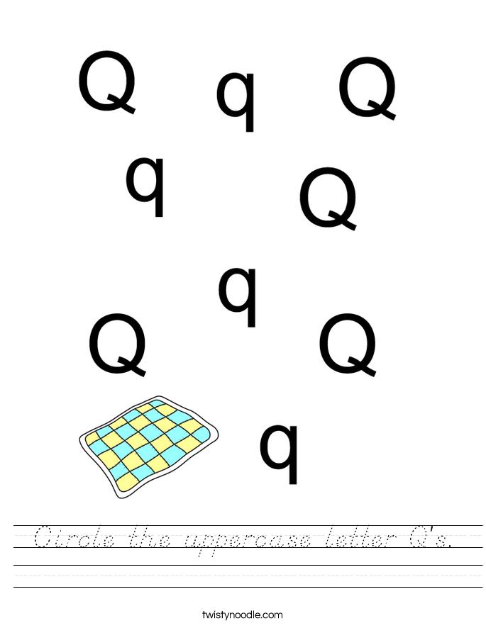 Circle the uppercase letter Q's. Worksheet