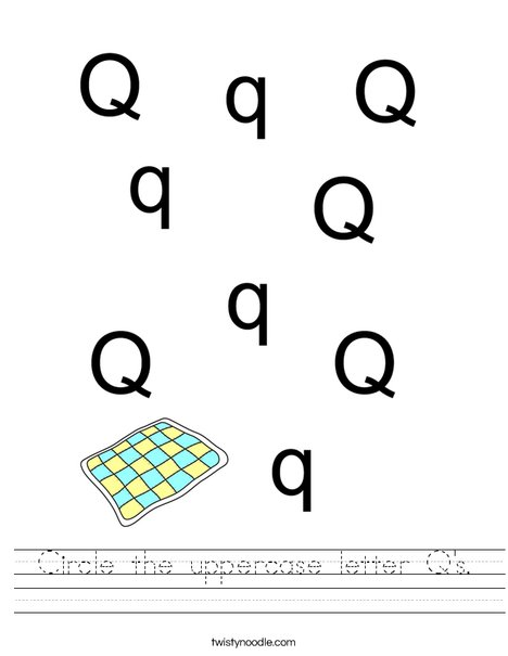 Circle the uppercase letter Q's. Worksheet