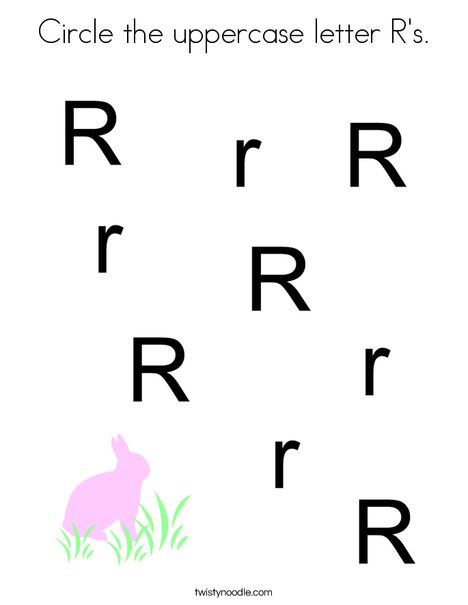 Circle the uppercase letter R's. Coloring Page