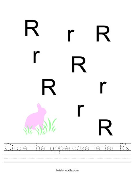 Circle the uppercase letter R's. Worksheet