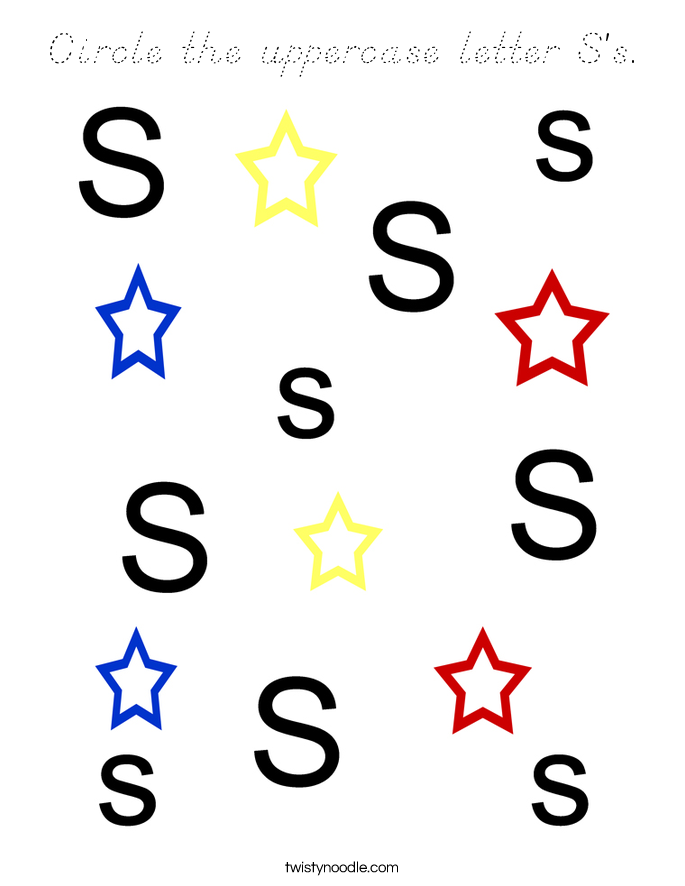 Circle the uppercase letter S's. Coloring Page