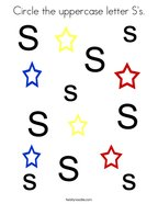 Circle the uppercase letter S's Coloring Page