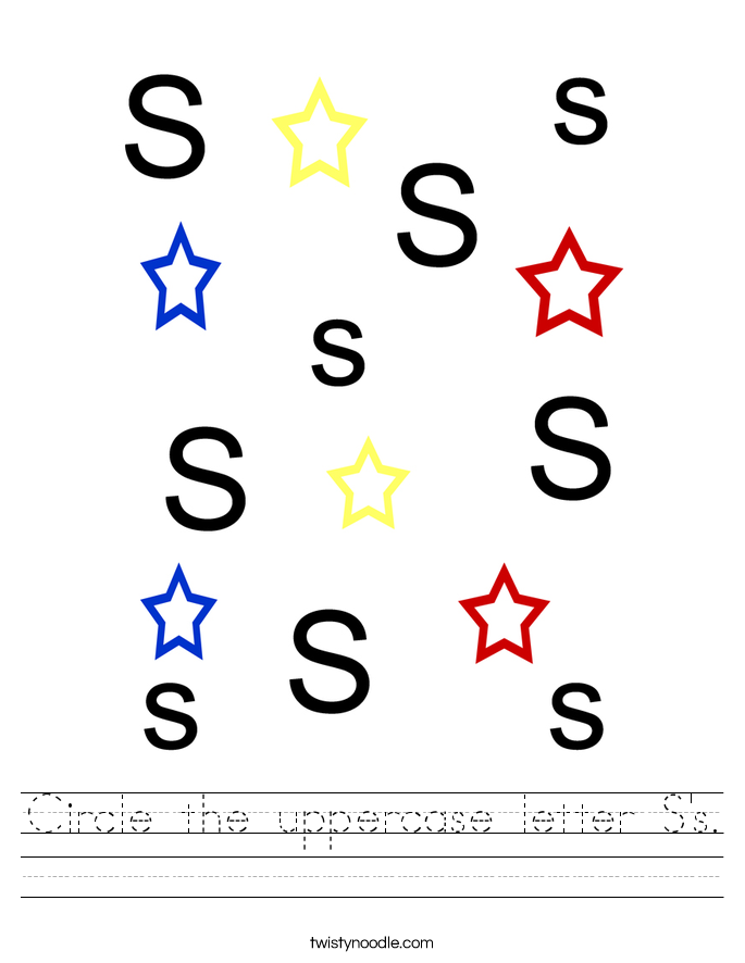 Circle the uppercase letter S's. Worksheet