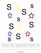 Circle the uppercase letter S's Handwriting Sheet