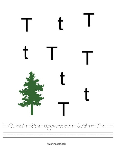 Circle the uppercase letter T's. Worksheet