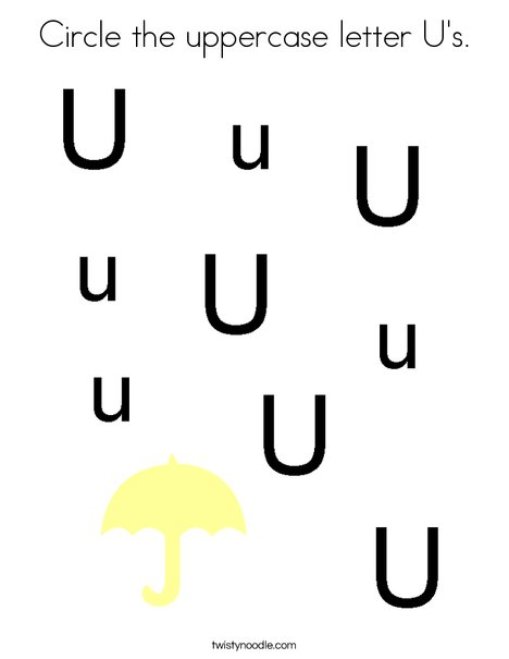Circle the uppercase letter U's. Coloring Page
