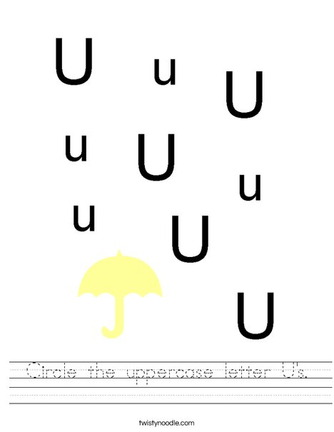 Circle the uppercase letter U's. Worksheet