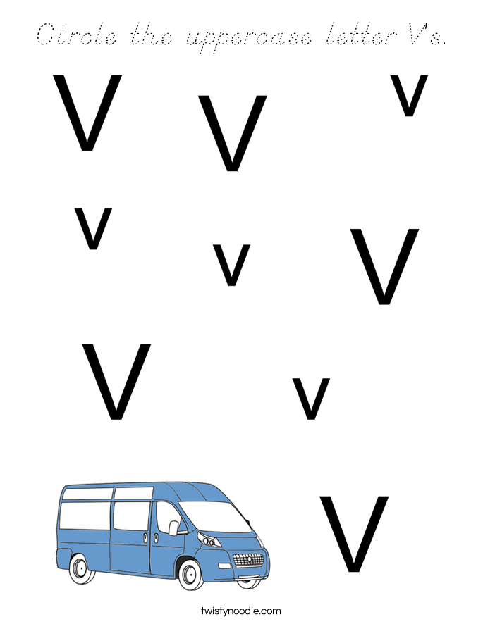 Circle the uppercase letter V's. Coloring Page