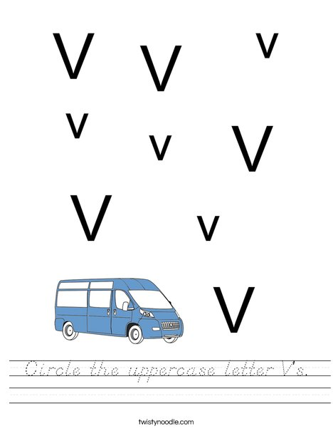 Circle the uppercase letter V's. Worksheet