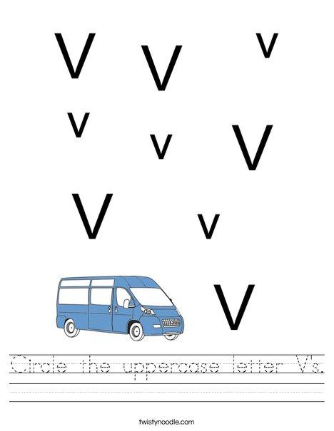 Circle the uppercase letter V's. Worksheet