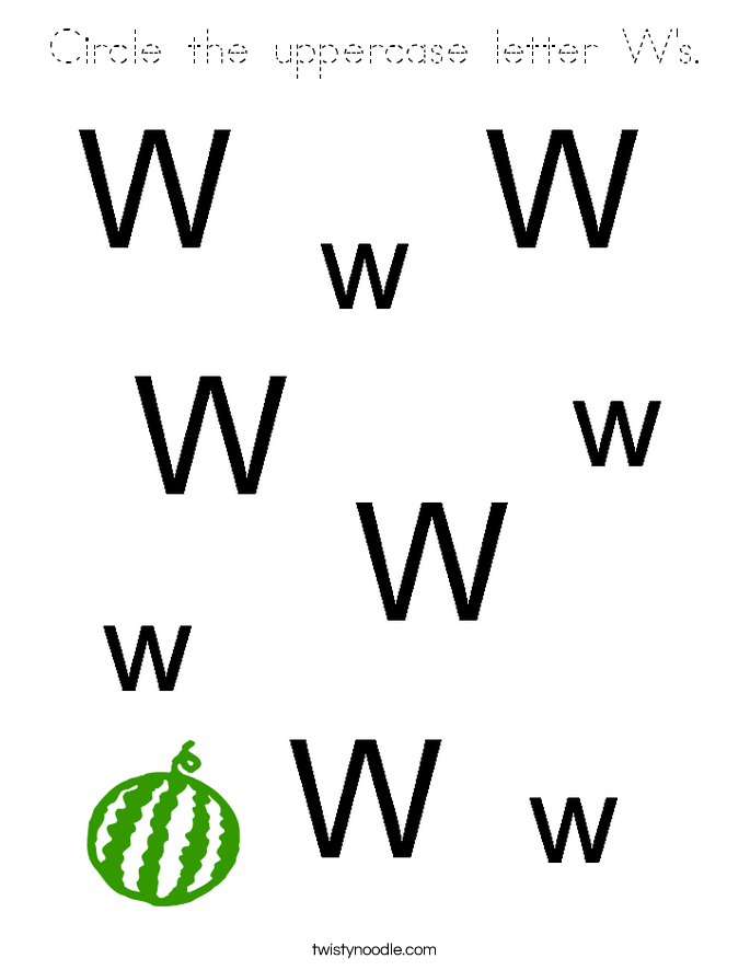Circle the uppercase letter W's. Coloring Page