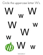 Circle the uppercase letter W's Coloring Page