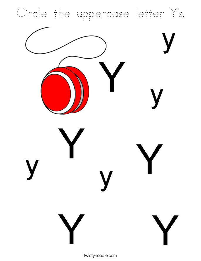 Circle the uppercase letter Y's. Coloring Page