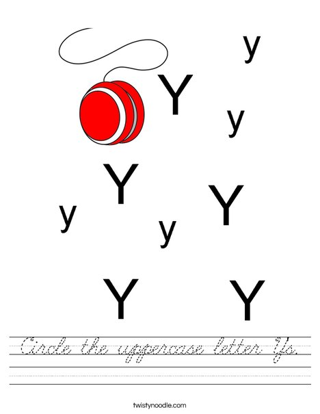 Circle the uppercase letter Y's. Worksheet