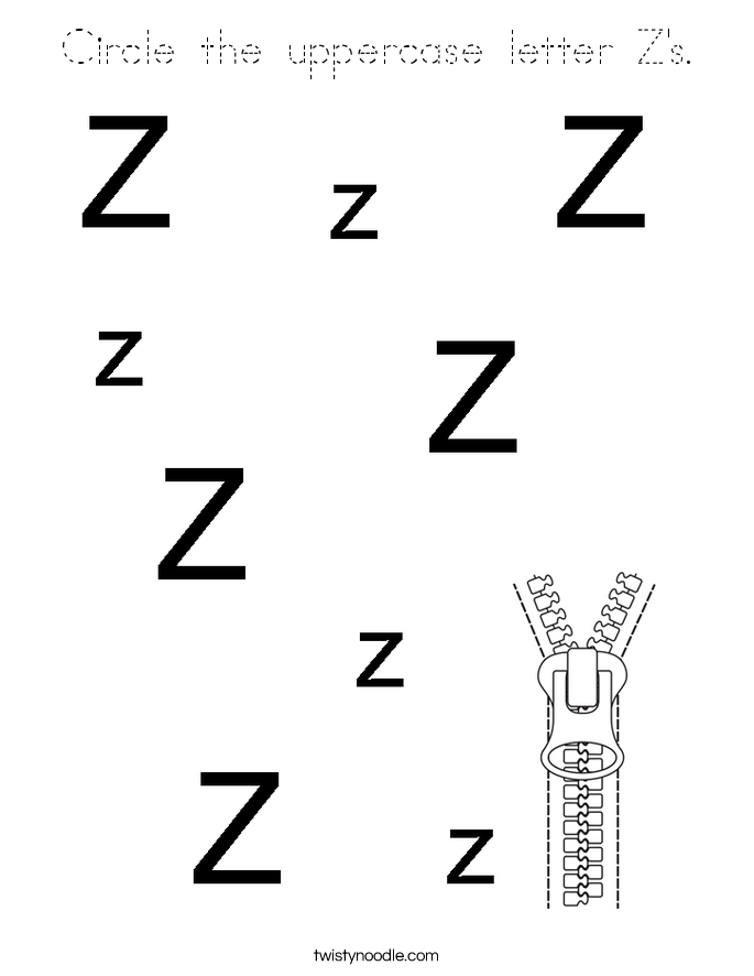 Circle the uppercase letter Z's. Coloring Page
