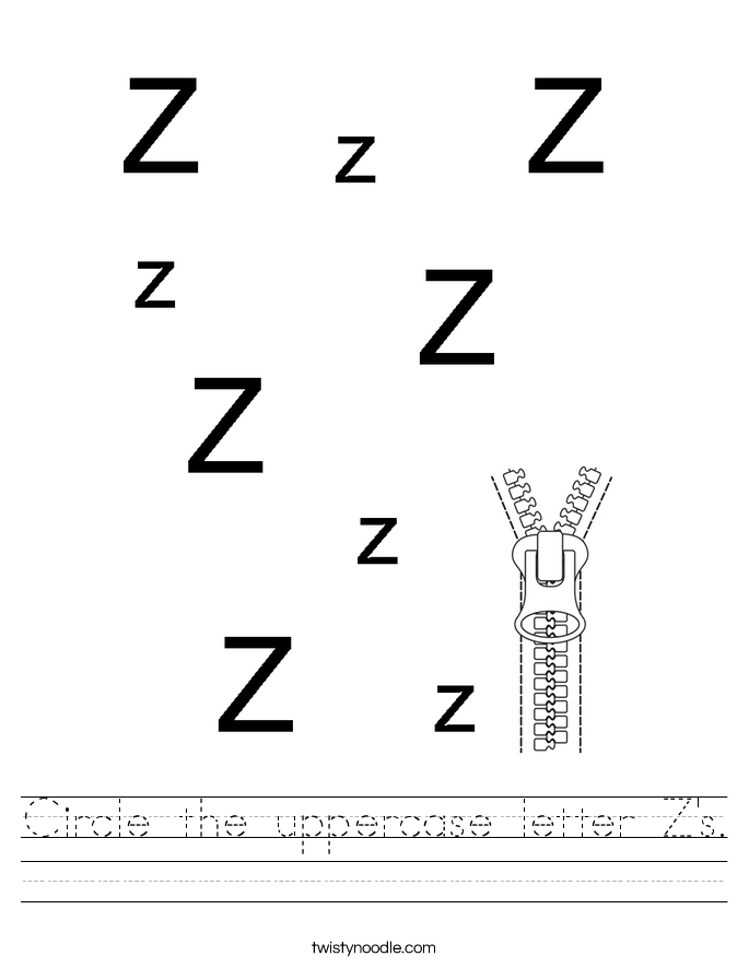 Circle the uppercase letter Z's. Worksheet