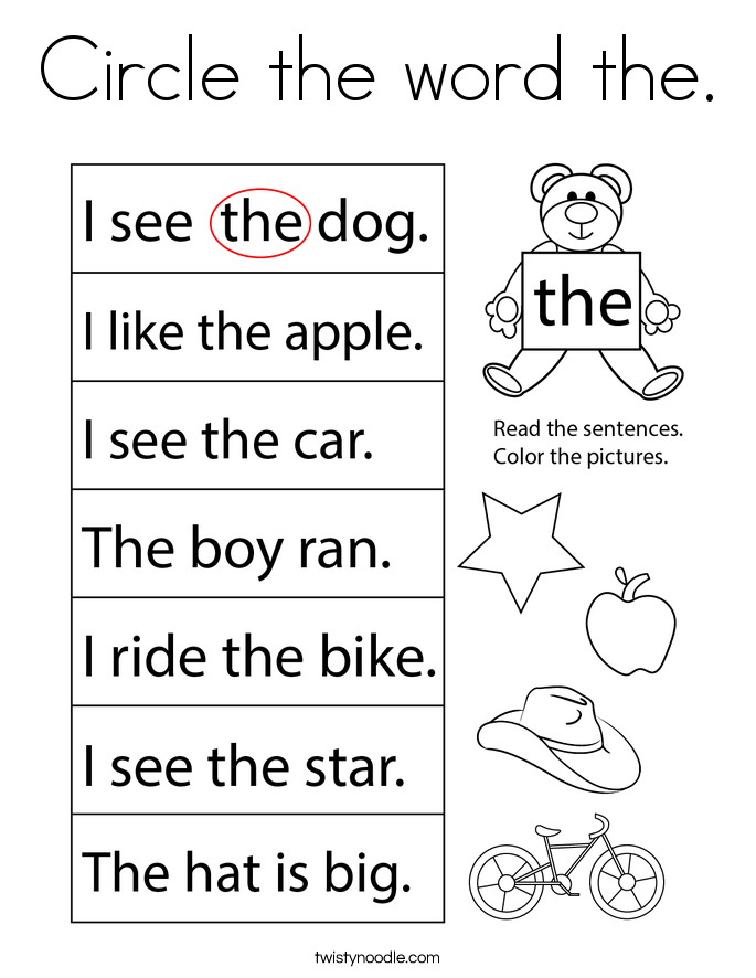 Circle the word the. Coloring Page
