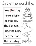 Circle the word the Coloring Page