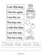 Circle the word the Handwriting Sheet
