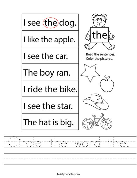 Circle the word the. Worksheet