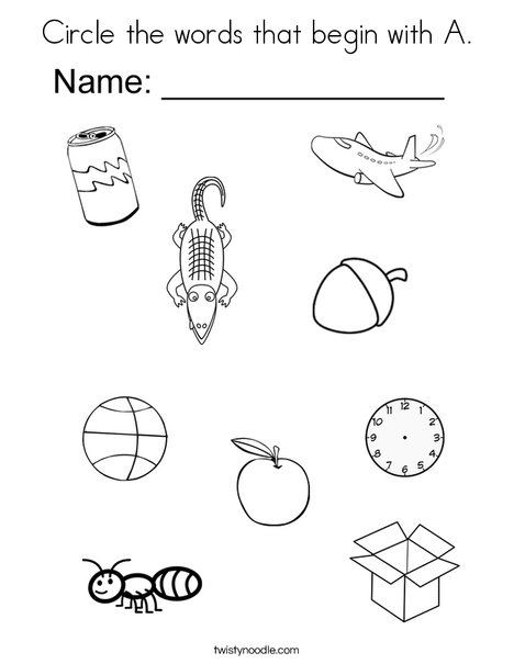 Circle the words that begin with A. Coloring Page