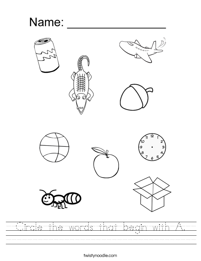 Worksheets Letter A Worksheets letter a worksheets twisty noodle circle the words that begin with handwriting sheet