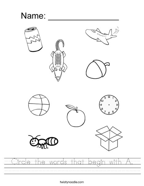 Circle the words that begin with A. Worksheet