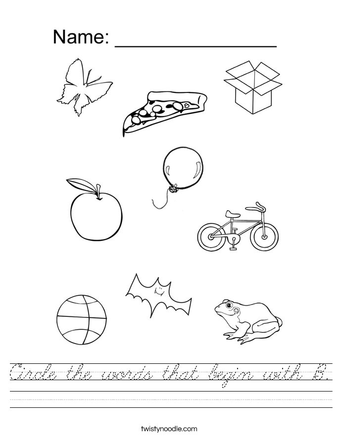 Circle the words that begin with B. Worksheet
