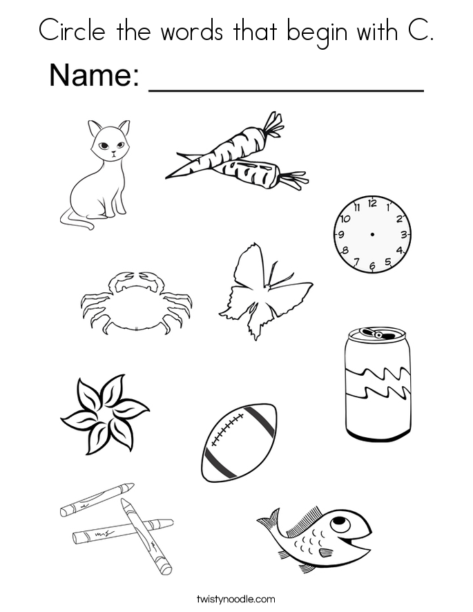Circle the words that begin with C. Coloring Page