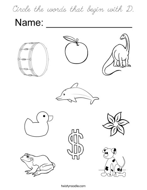 Circle the words that begin with D. Coloring Page