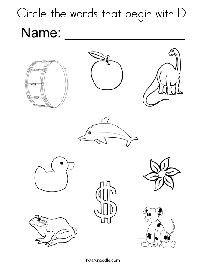 Circle The Words That Begin With D Coloring Page on Abc For Preschoolers Worksheets