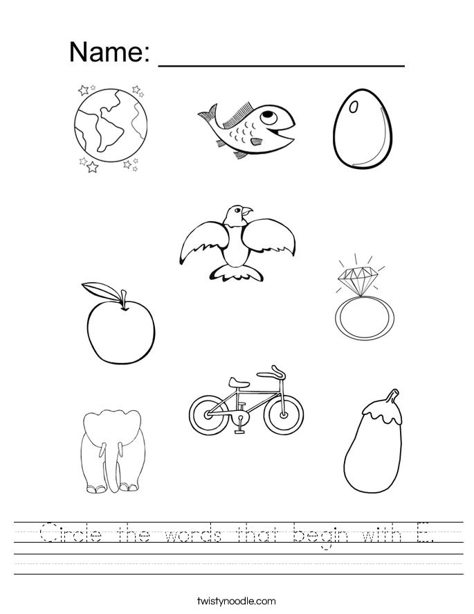 Preschool Letter E Worksheet