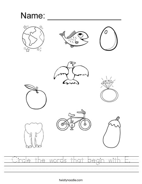 Circle the words that begin with E. Worksheet