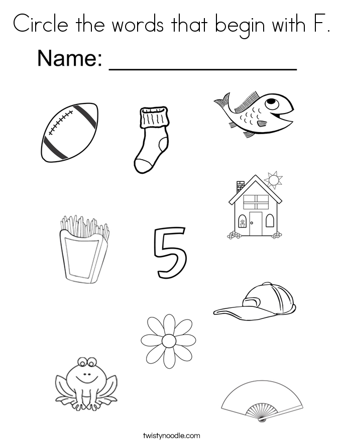 Circle the words that begin with F. Coloring Page